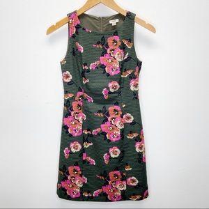 Fossil Sleeveless Floral Army Green Mini Dress